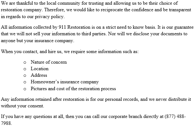 911 Restoration New Jersey Privacy Policy